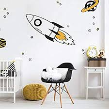 Amazon Com Rocket And Stars Wall Decal Pack Orange Space Wall Decals Perfect For A Creating A Space Themed Room Baby