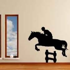 Horse With Rider Equestrian Show Jumping Drop Fence Decal Decor Vinylwallaccents On Artfire