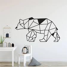 Geometric Woodland Bear Wall Decal Geometry Design Animal Home Decorative Wall Decor Sticker For Nursery Kids Room Y160 Wall Stickers Aliexpress