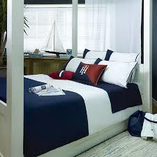 navy color block duvet cover