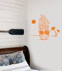 Vinyl Wall Decal Pineapple Hawaii Beach Tropical Style Funny Sunglasse Wallstickers4you