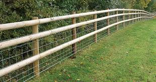 Half Round Post And Rail With Mesh Farm Fence Backyard Fences Rustic Fence