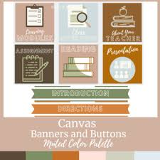 Canvas Buttons and Banners Muted Color Scheme by Jillian West | TpT in 2020  | Muted colors, Banner, Canvas banners