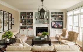 bookshelves around fireplace