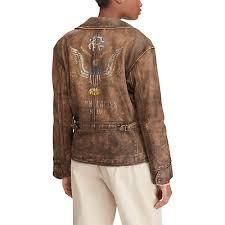 distressed leather moto jacket