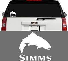 Simms Fishing Outdoor Sports Trout Vinyl Decal Sticker Window Cooler Truck White Ebay