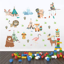 Funny Animals Indian Tribe Wall Stickers For Kids Rooms Home Decor Cartoon Owl Lion Bear Fox Wall Decals Pvc Mural Art Wall Decal Decor Wall Decal Decorations From Supper007 2 56 Dhgate Com