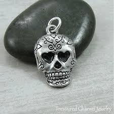 silver sugar skull charm mexican day