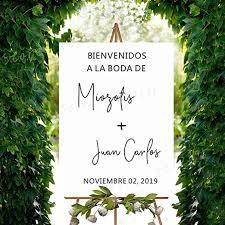 Amazon Com Spanish Language Welcome To Wedding Sign Vinyl Decals Custom Bride Groom Names Board Sticker Wedding Mirror Decal Decor Home Kitchen