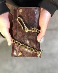 handmade leather biker trucker wallet