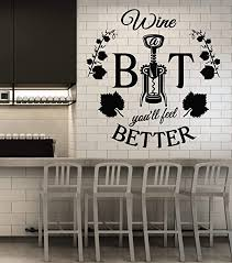 Amazon Com Vinyl Wall Decal Wine Corkscrew Bottle Alcohol Bar Quote Restaurant Stickers Mural Large Decor G2286 Black Home Kitchen