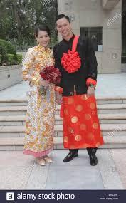Hong Kong actress Myolie Wu poses with bridegroom during her wedding  ceremony in Hong Kong, China, 28 December 2015 Stock Photo - Alamy