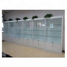 modern glass mdf wood showcase white