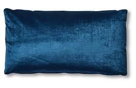 One Kings Lane - Ada Long Lumbar Pillow, Prussian Blue Velvet | One Kings  Lane