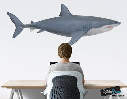 Great White Shark Wall Decal Graphic Sticker Side View 6084 Stickerbrand