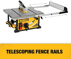 The Dewalt Dwe7491rs 10 Inch Jobsite Table Saw With 32 1 2 Inch 82 5cm Rip Capacity And A Rolling Stand Fea Hybrid Table Saw Best Table Saw Table Saw Reviews