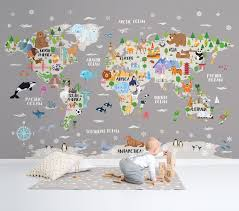 Animal World Map Removable Wallpaper Gray Kids Room Decor Etsy
