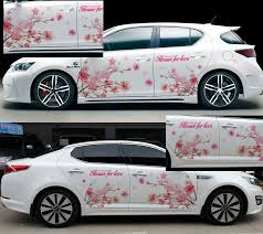 Left Side Car Stickers High Grade Fresh Pink Flower Car Styling Both Sides Floral Car Body Door Sticker Decal Decor Waterproof Car Styling Flower Carcar Sticker Aliexpress