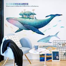 Creative Blue Whale Wall Sticker For Kids Room Diy Large Removable Vinyl Stickers Baby Room Decoration Home Decor Wall Stickers Aliexpress