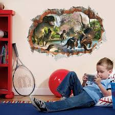 3d Dinosaur Wall Sticker Cartoon Animal Wall Decal For Kids Boys Room Bedroom
