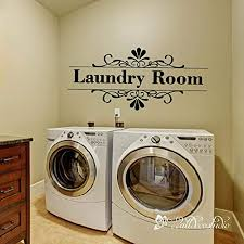 Amazon Com Laundry Vinyl Decal Floral Vintage Style Laundry Wall Decal Vinyl Laundry Room Sticker For Wall Shop Window Handmade