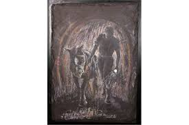 WILLIAM BRACK HINDMARSH (B.1942), MINER WITH PIT PONY UNDERGROUND, oil on  slate, signed W.B. Hind