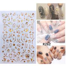 Nusx 1 Pc Holographic Gold 3d Nail Sticker Moon Star Constellation Flower Laser Adhesive Decal Sticker Manicure Nail De In 2020 Nail Stickers Nail Manicure Nail Decals