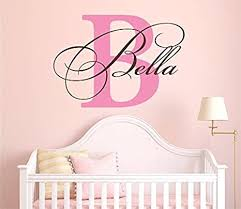 Amazon Com Nursery Custom Name And Initial Wall Decal Sticker 28 W By 20 H Girl Name Wall Decal Girls Name Wall Decor Personalized Girls Name Decor Nursery Bedroom Baby Decor Plus Free