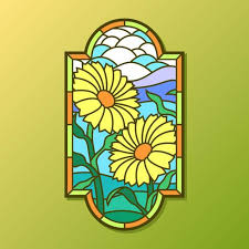 sun flower stained glass window vector