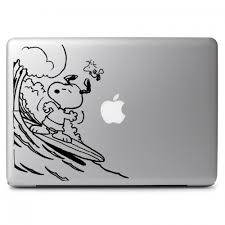 Peanuts Snoopy Surfing With Woodstock Apple Macbook Air Pro 11 13 15 17 Vinyl Decal Sticker Dreamy Jumpers