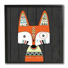 Shop The Kids Room By Stupell Tribal Boho Fox Black Framed 12 X 12 Proudly Made In Usa 12 X 12 On Sale Overstock 30335255