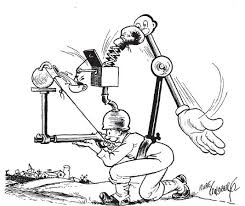A Rube Goldberg cartoon from Collier's, December 9, 1944. | Rube goldberg, Rube  goldberg machine, Rube goldberg projects