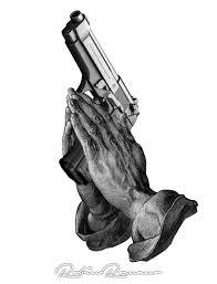 praying hands + gun by Robin Romano - Inkbay