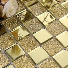 gold vitreous glass mosaic wall tiles