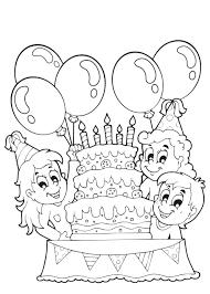Kleuren Nu Verjaardagstaart Met Ballonnen En 5kaarsjes Kleurplaten