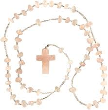 Amazon.com: Rose Quartz Rosary - Cross Pendant - Crystal Clear Miracles  Healing - Prayer Bead Necklace - Powerful Blessed - Brazilian Hand Faceted  Natural Crystal: Health & Personal Care
