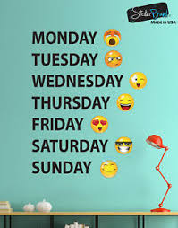 Days Of The Week Emojis Calendar Wall Decal Sticker 6071 Monday Thru Sunday Ebay