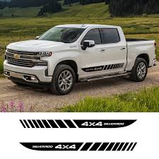 2 Pcs Car Side Stripes Side Skirts Graphics Vinyl Sticker Decals Racing Sport Auto Stickers For Chevrolet Pickup Silverado 4x4 Car Stickers Aliexpress