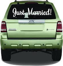 Just Married Window Sticker White Just Married Rear Window Sign Just Married Car Sign Just Married Window Decal Just Just Married Car Just Married Window Stickers