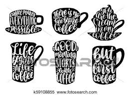 vector handwritten coffee phrases set good morning starts