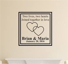 Custom Names Two Lives Two Hearts Vinyl Decal Wall Stickers Letters Words Wedding Valentines Gift