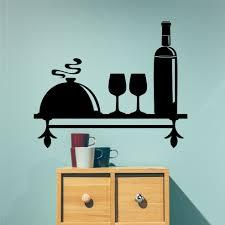 Wine Themed Shelf Vinyl Decal Kitchen Wall Decoration