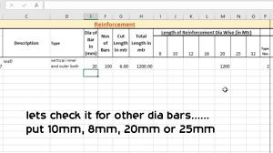 steel calculation in excel sheet