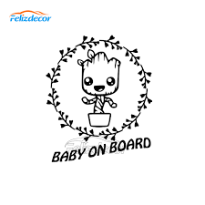 10 12cm New Style Baby Groot On Board Decal Car Stickers Vinyl Car Window Decals Art Safety Sign Sticker Bumper Decor L1036 Buy At The Price Of 1 08 In Aliexpress Com Imall Com