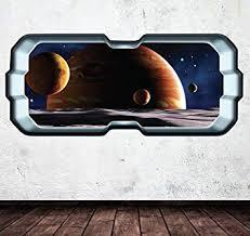 Amazon Com Space Planet Window Galaxy Stars Full Colour Wall Art Sticker Decal Boys Bedroom Wsd266 Baby