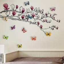 Ebern Designs Dzwonkowski Huge Magnolia 3d Colourful Butterfly Wall Decal Reviews Wayfair