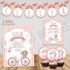 Kit Imprimible Bicicleta Flores Shabby Chic Decoracion Cumpleanos