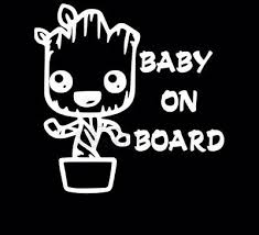 Baby Groot On Board 100x145mm Guardians Of The Galaxy Vinyl Decal Sticker Bumper