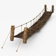 3d rope bridge model rope wood plank