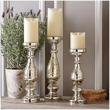 mercury glass pillar candleholders